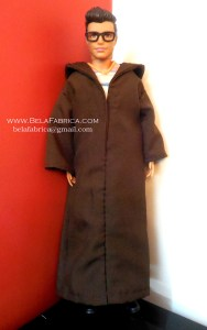 Miniature Male outfit Solid Brown Djellaba For Ken Doll or Barbie