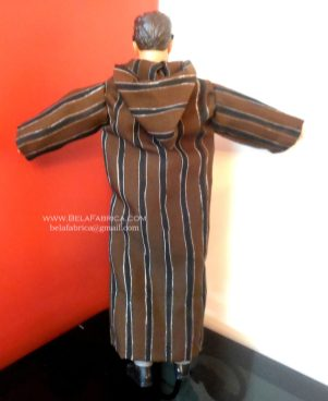 Miniature Moroccan Male outfit Brown striped Djellaba Back View