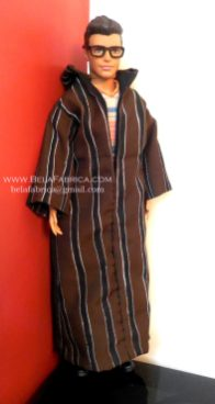 Miniature Moroccan Male outfit Brown striped Djellaba Side View