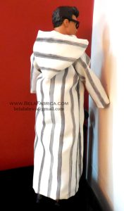 Miniature Moroccon Male outfit Grey striped Djellaba Back View By BELAFABRICA