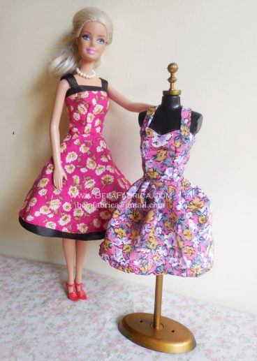 Miniature Pink Floral Short Dress and Purple FLoral dress for fashion dolls