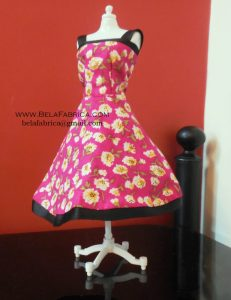 Miniature Pink Floral Short Dress Barbie Doll BY BELAFABRICA