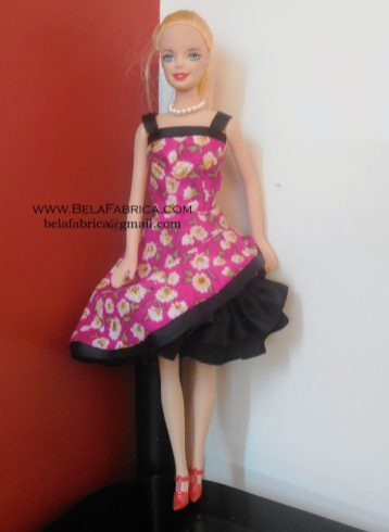 Miniature Pink Floral Short Dress with ruffles underskirt for Barbie Doll
