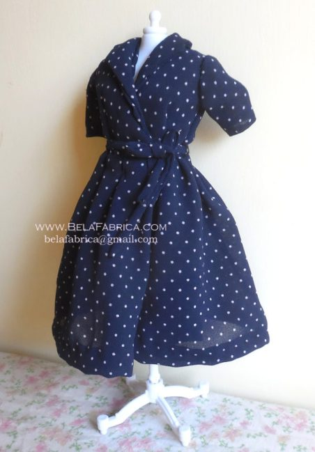 Miniature Replica 50s Dress for Fashion Doll Navy Blue Polka Dotted on Mannequin