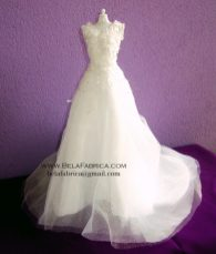 Miniature Replica Glamour Plus Lamour Wedding Dress BY BELAFABRICA on white mannequin