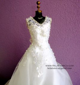 Miniature Replica of a Lace Ballgown V neck beaded wedding Dress by BELAFABRICA Closeup