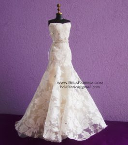 Miniature Replica of Lace Trumpet Galina signature Davids Bridal Wedding Dress BY BELAFABRICA