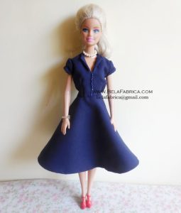 Miniature Replica of Navy Blue 60s Knee length dress for fashion doll