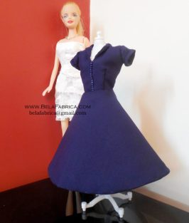Miniature Replica of Navy Blue 60s Knee length dress for fashion dolls and barbie dolls