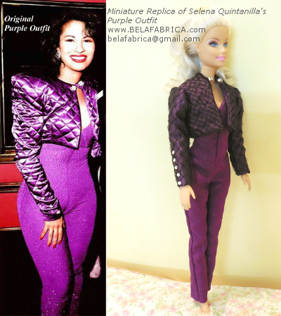 Celebrity Clothing Miniature Replica Special Occasion Dress Keepsake Vintage Prom Gown Bridesmaid Dress Replica Doll Size Selena Quintanilla