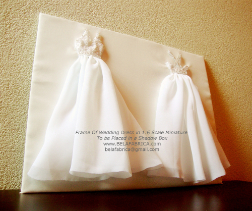 Frame Of Wedding Dress For Shadow Box 1:6 Scale Miniature
