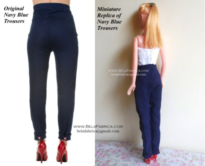 Comparison of Miniature Replica Pant with original - costume for fashion dolls Back View