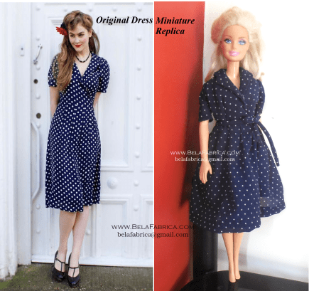 Comparison of Miniature Replica with original-Navy Blue Polka Dot Dress for fashion dolls