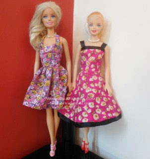 Miniature Floral Short Dresses for Barbie Dolls and fashion Dolls