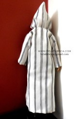 Miniature Moroccon Male outfit Grey striped Djellaba Back View With Hoodie BY BELAFABRICA