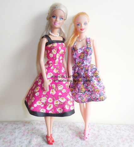 Miniature purple Floral Dress and Pink Floral Short Dress Barbie Doll