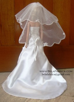Miniature Replica Wedding Dress of Satin Wedding Dress with Lace applique Back View