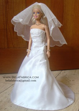 Miniature Replica Wedding Dress of Satin Wedding Dress with Lace applique