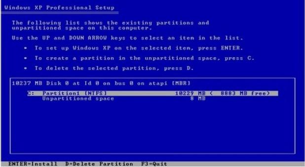 gambar jendela setup menentukan partisi instalasi windows
