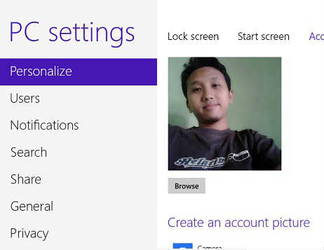 cara memasang foto profil windows 8 6