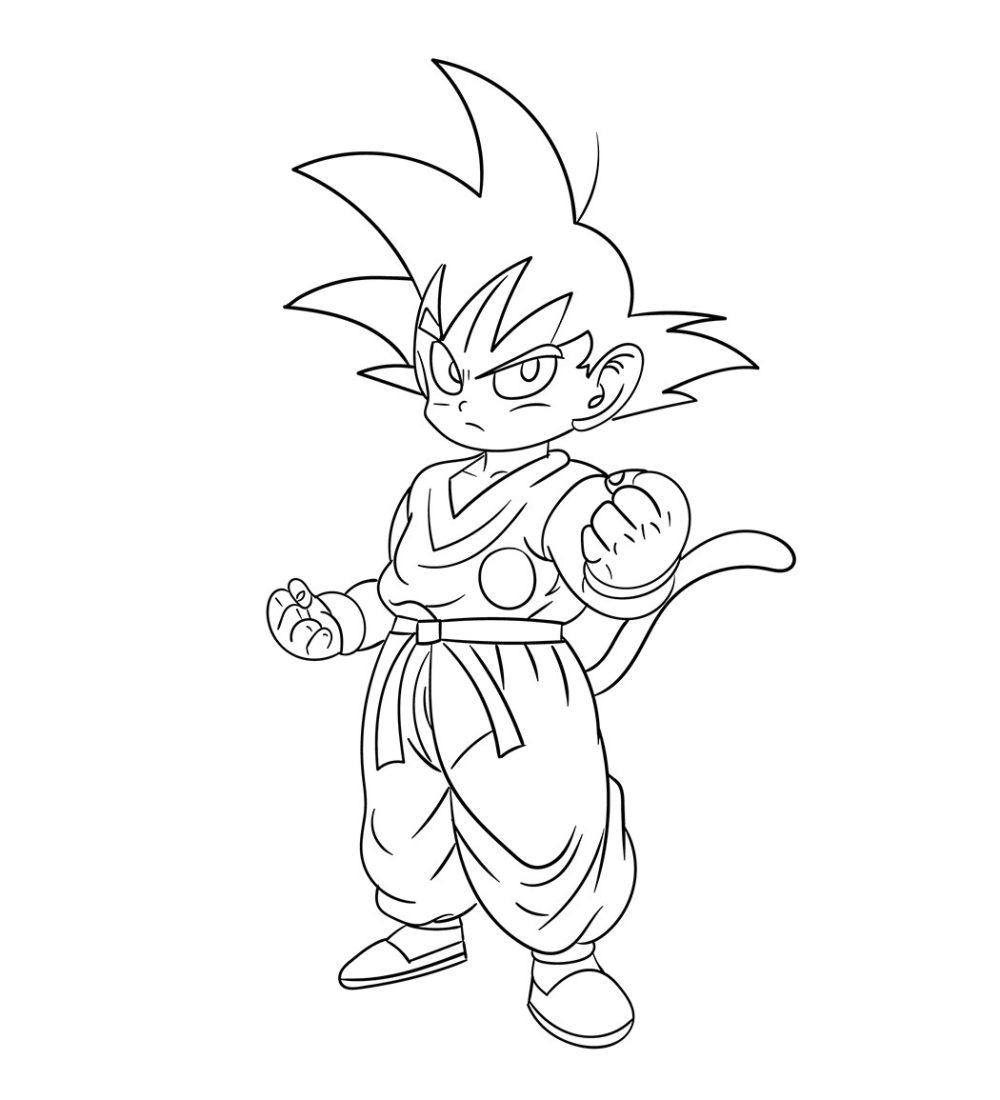 Mewarnai Gambar Child Goku Dragon Ball Z