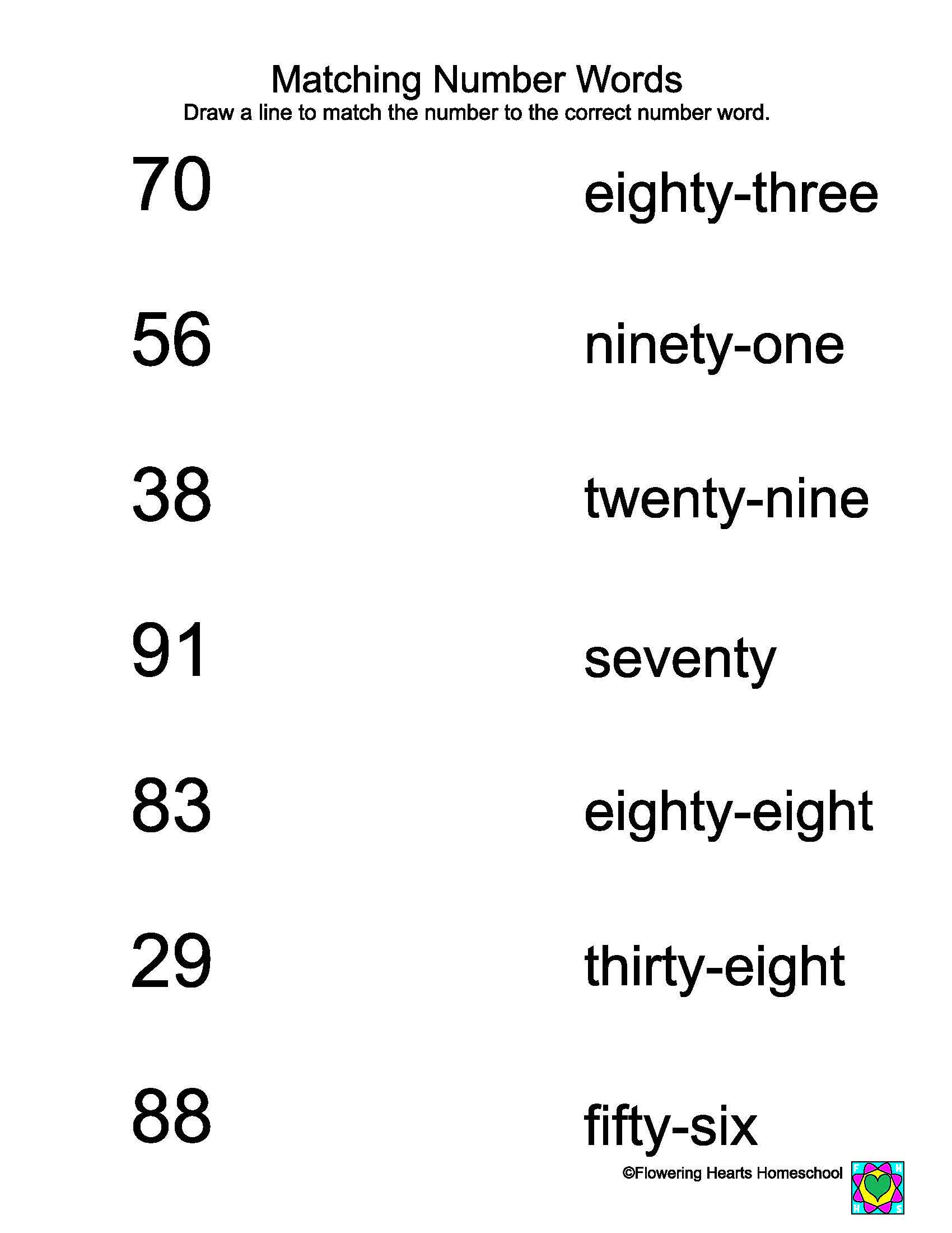 Seven Number Recognition Worksheet
