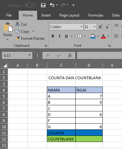 Rumus Excel Menghitung Jumlah Cell Yang Terisi : rumus, excel, menghitung, jumlah, terisi, PENGGUNAAN, RUMUS, COUNTA, COUNTBLANK, EXCEL, BELAJAR, ONLINE
