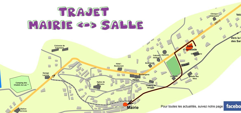 trajet mairie de Belcaire et salle d'escalade