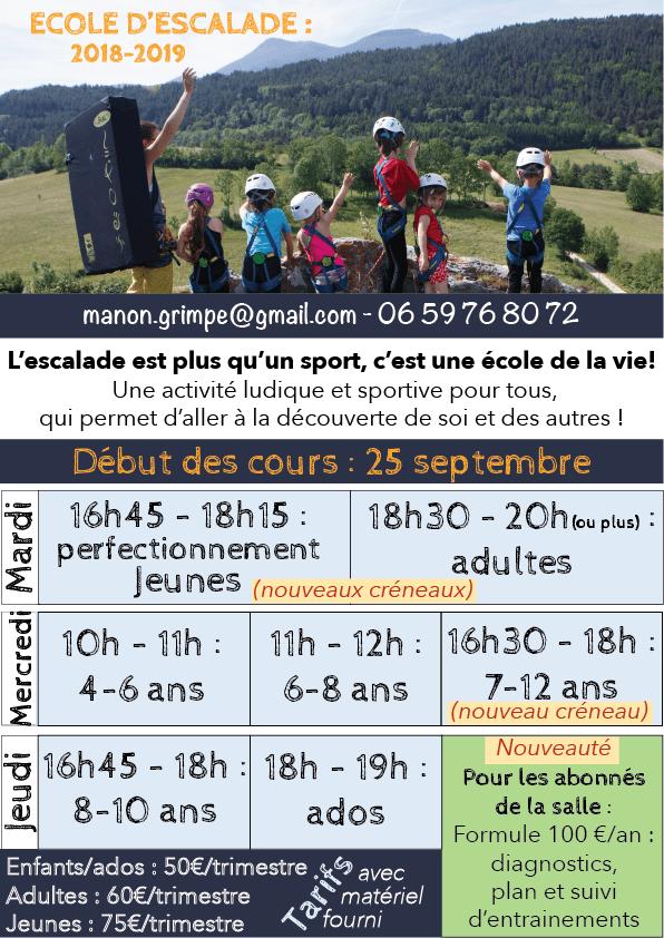 rentrée de l'école d'escalade à Belcaire entre l'Aude et l'Ariège