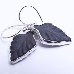 Leaf handmade porcelain and sterling silver earring