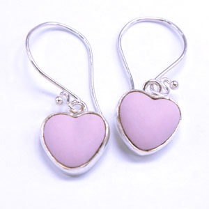 Heart handcrafted porcelain and sterling silver earrings
