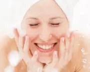 happy woman wash herself