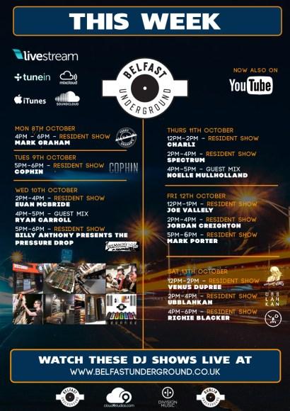 Belfast Underground Radio Schedule – w/c Mon 8th October