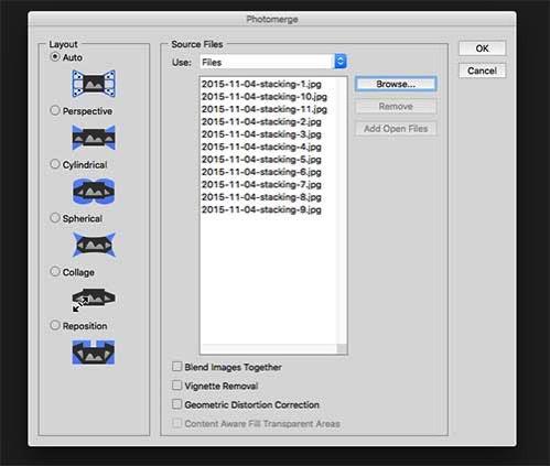 Proses focus stacking photoshop photomerge