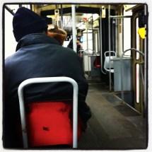 red seat, black hat