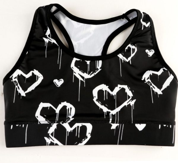 Sports Bra Graffiti Hearts Scoop Neck