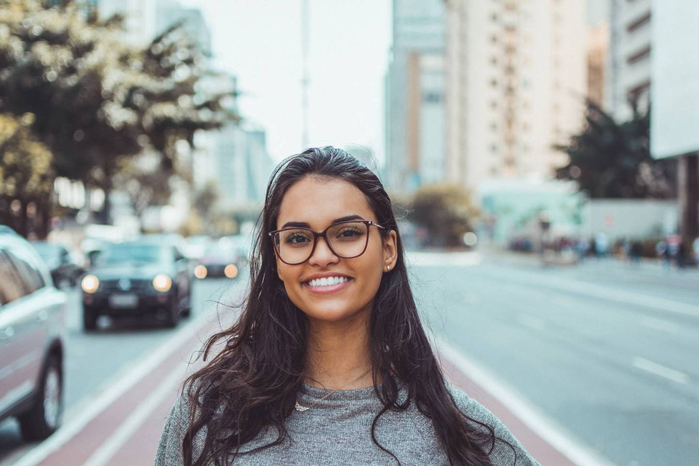 woman wearing black eyeglasses