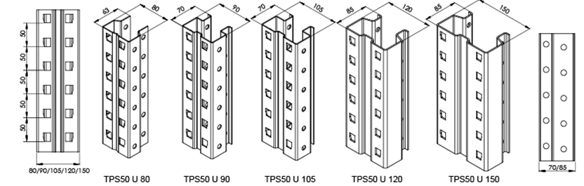Drawings of upright rack