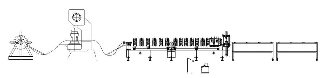 Upright Rack Roll Forming Machine Layout