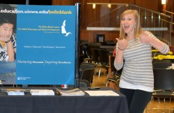 Ashlee Van Fleet, Administrator for Curriculum & Instruction, talked with students at the Information Fair.