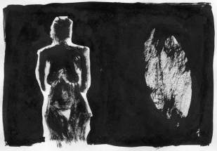 standing woman with yoni symbol (ink on paper)