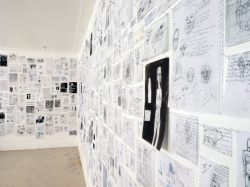 etcetera-wall: pages from journals, waxed and pinned