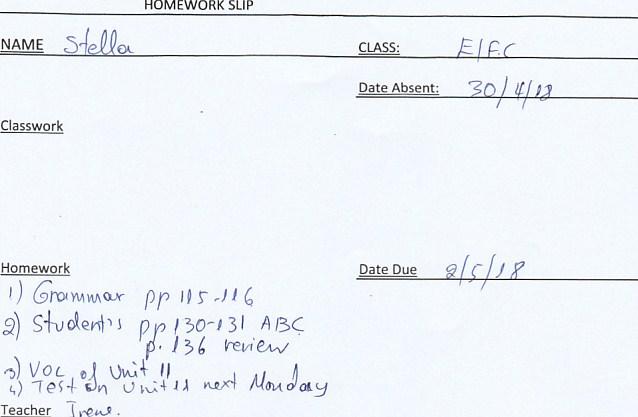 Homework: B class, Agia Paraskevi 30/4 18