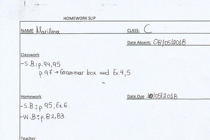 Homework: C class Agia Paraskevi 8/5/18
