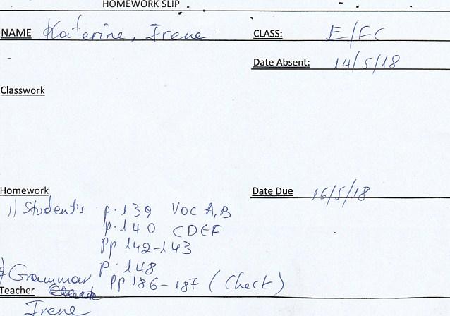 Homework: E/Fc class, Agia Paraskevi 14/5/18