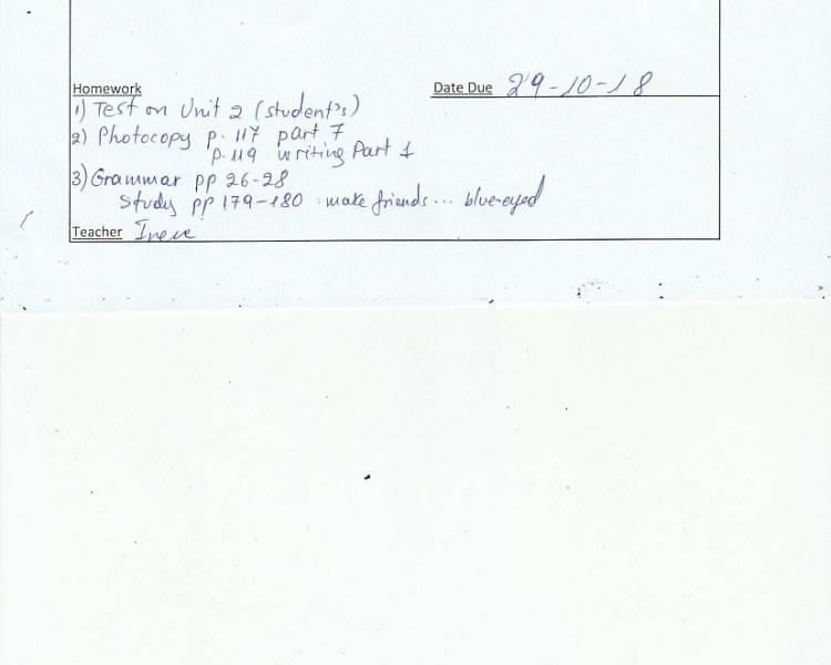 Homework: E/Fc class, Agia Paraskevi 25/10/18