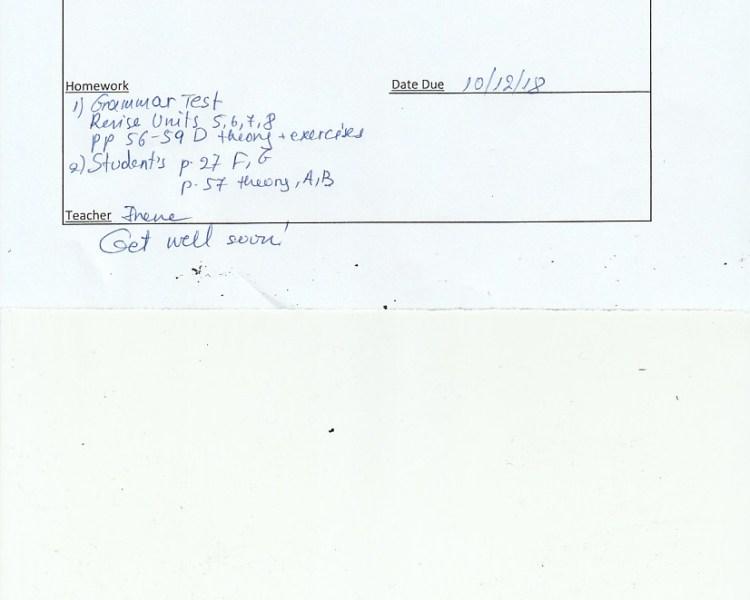 Homework: E/Fc class, Agia Paraskevi 6/12/18