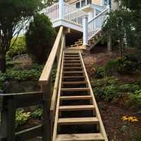 Beach stairs installation. Wooden staircase, beach staircase.