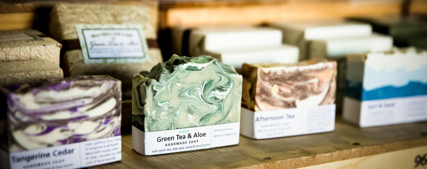 Handcrafted soaps on display.