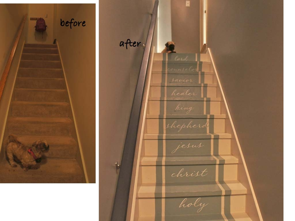 Painted Stairs Stair Makeover   Carpet Up Middle Of Stairs
